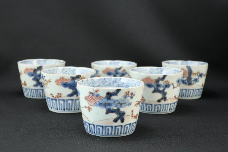伊万里色絵松竹梅文蕎麦猪口 六客組 / Imari Polychrome Soba Cups  set of 6