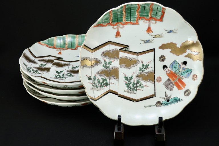 伊万里色絵立雛の図七寸皿 五枚組 / Imari Polychrome Plates with the picture of 'Hina ' Dolls  set of 5