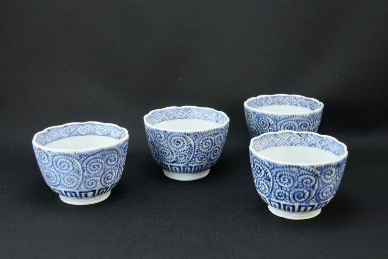 伊万里染付蛸唐草文向付 四客組 / Imari Blue & White 'Mukoduke' Cups  set of 4
