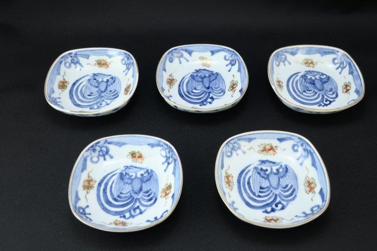 伊万里色絵鳳凰文角小皿 五枚組 / Imari Small Square Polychrome Plates with the picture of Phoenix set of 5