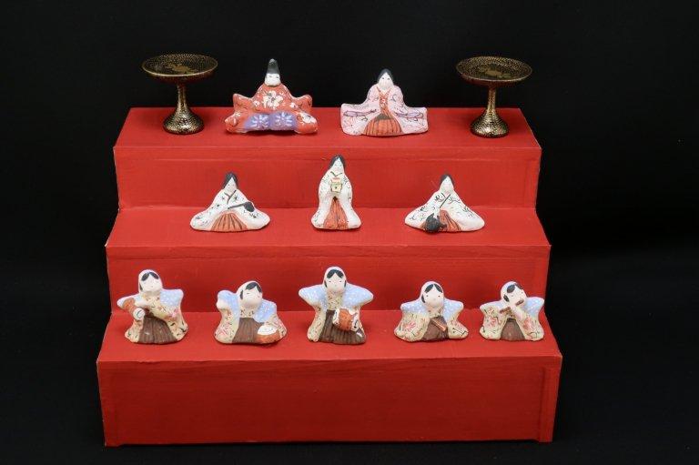 土人形 豆雛三段飾り / Clay Dolls of Hina set