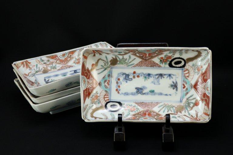 伊万里色絵水車と兎の図長皿 四枚組 / Imari Rectangular Polychrome Plates  set of 4