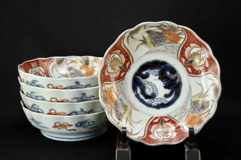 伊万里色絵鶉文なます皿 五枚組 / Imari Polychrome 'Namasu' Bowls with the picture of Quails  set of 5