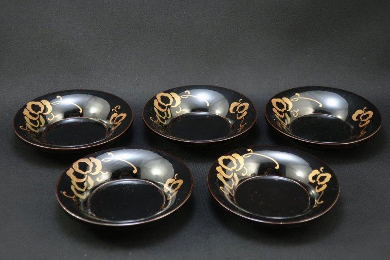 黒塗蒔絵茶托 五枚組 / Black-lacquered Tea Cup Saucers  set of 5