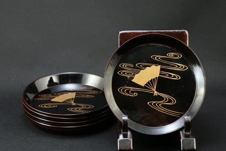 黒塗扇面蒔絵小皿 五枚組 / Black-lacquered Small Plates  set of 5