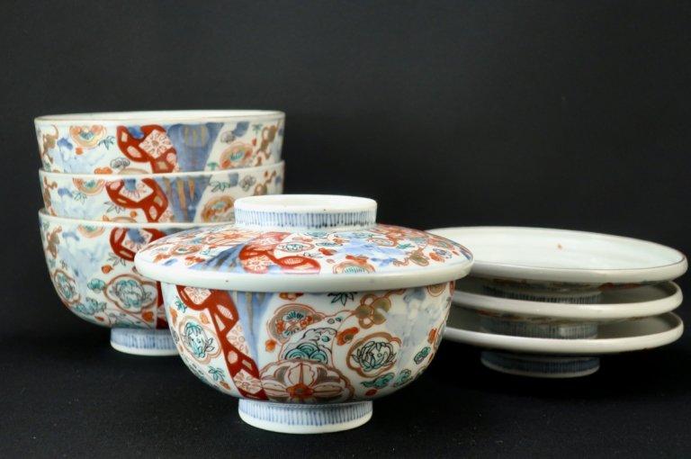 伊万里色絵韃靼人の図蒸茶碗 四客組 / Imari Polychrome Bowls with Lids  set of 4