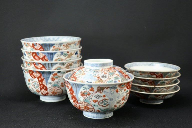 伊万里色絵韃靼人の図蓋茶碗 五客組 / Imari Polychrome Bowls with Lids  set of 5