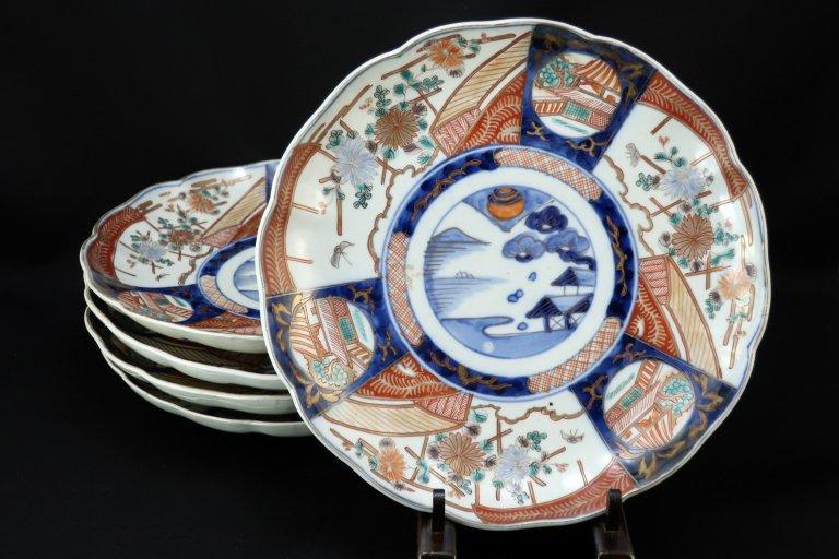 伊万里色絵菊文八寸皿 五枚組 / Imari Polychrome Plates  set of 5