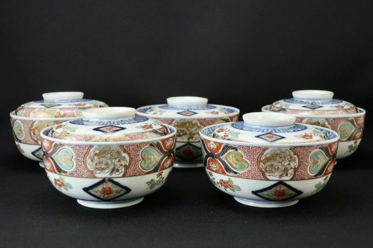大聖寺伊万里色絵蓋茶碗 五客組 / Daishoji Imari Polychrome Bowls with Lids  set of 5