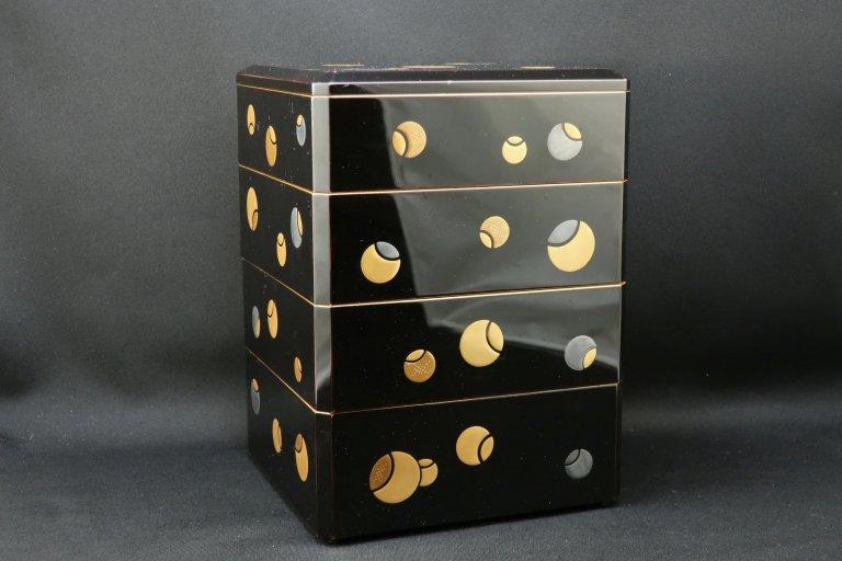 黒塗内梨地つぼつぼ蒔絵重箱 / Black-lacquered 'Jubako' Food Boxes