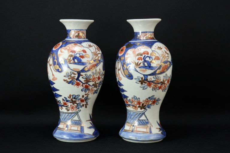 伊万里色絵徳利 一対 / Imari Polychrome Sake Bottle 1 pair