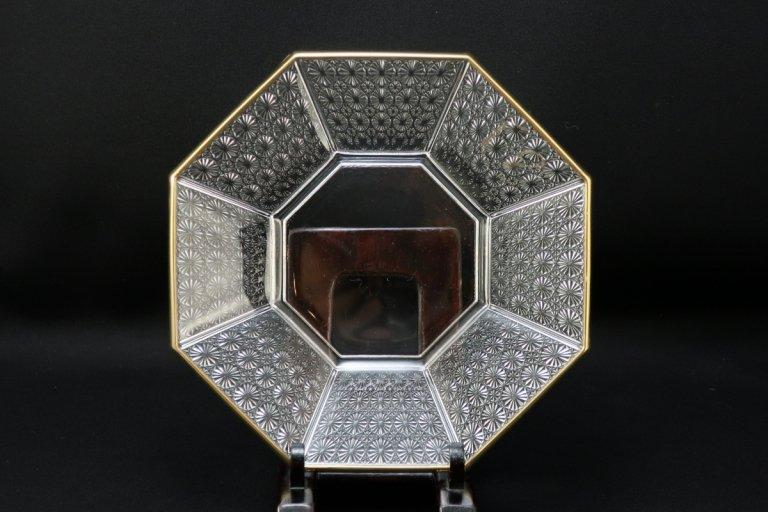 金縁クリスタル八角皿 四枚組