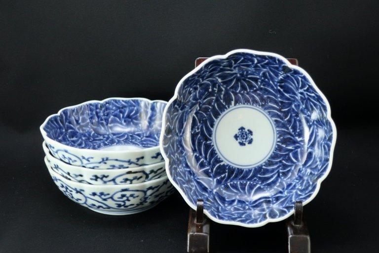 伊万里染付牡丹唐草文なます皿 四枚組 / Imari Blue & White 'Namas' Bowls  set of 4