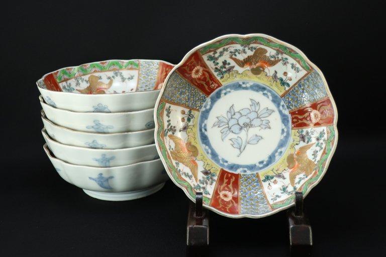 伊万里色絵なます皿 六枚組 / Imari Polychrome 'Namasu' Bowls  set of 6