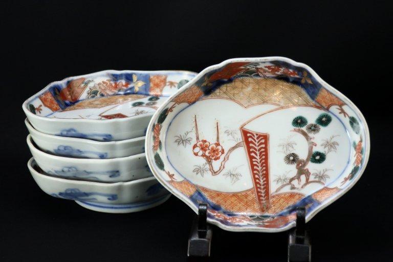 伊万里色絵松竹梅文菱形皿 五枚組 / Imari Diamond-shaped Polychrome Plates  set of 5