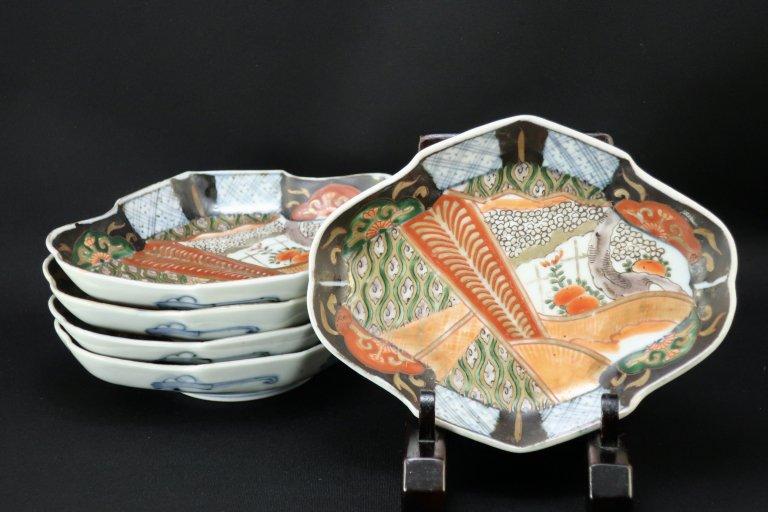 伊万里色絵扇面桜文菱形皿 五枚組 / Imari Fan-shaped Polychrome Plates  set of 5