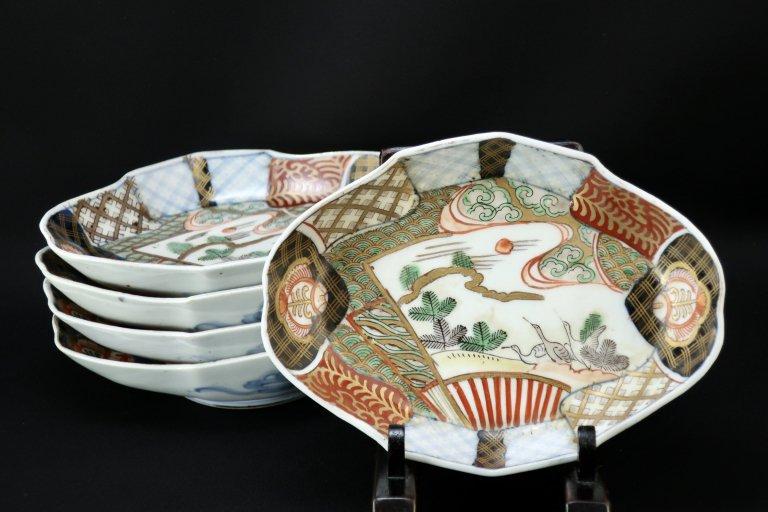 伊万里色絵扇面菱形皿 五枚組 / Imari Diamond-shaped Polychrome Plates   set of 5