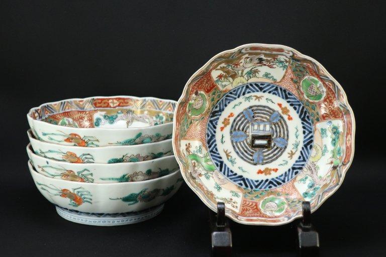 伊万里色絵鶴亀文なます皿 五枚組 / Imari Polychrome 'Namasu' Bowls  set of 5