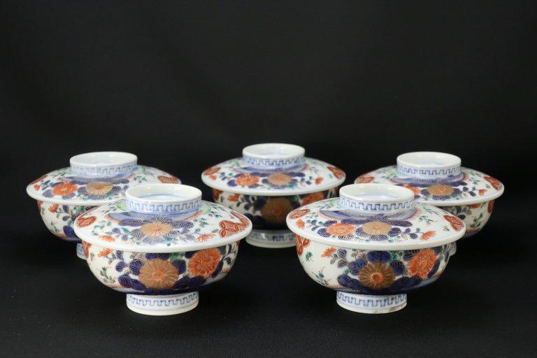 伊万里色絵菊花文蓋茶碗 五客組 / Imari Polychrome Bowls with Lids  set of 5