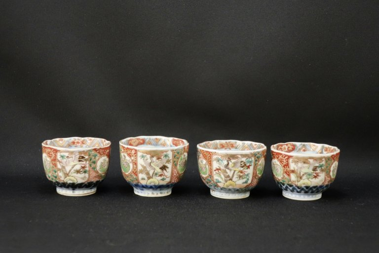 伊万里色絵鶴亀文覗猪口 四客組 / Imari Polychrome Small Cups for Vinegar  s et of 4