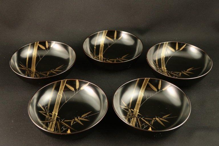 黒塗竹蒔絵菓子皿 五枚組 / Black-lacquered Small Plates  set of 5