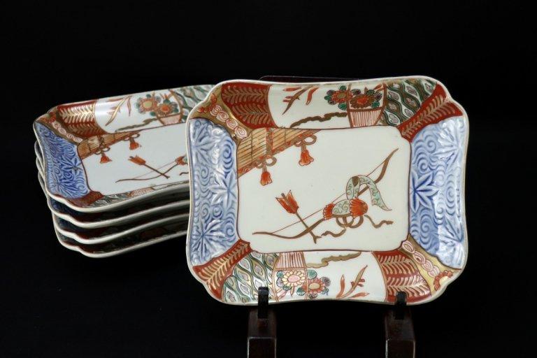 伊万里色絵変形皿 五枚組 / Imari Polychrome Plates  set of 5
