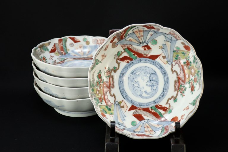 伊万里色絵熨斗文なます皿 五枚組 / Imari Polychrome 'Namasu' Bowls  set of 5