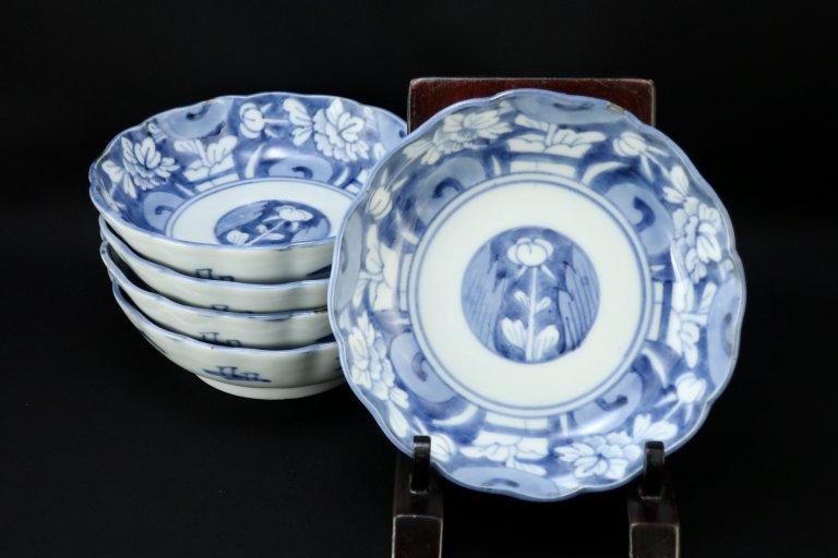 伊万里染付牡丹文なます皿 五枚組 / Imari Blue & White 'Namasu' Bowls  set of 5