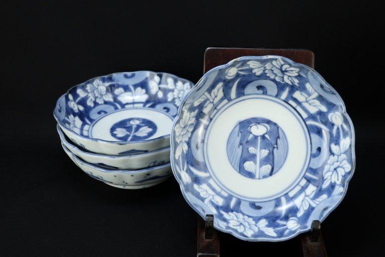 伊万里染付牡丹文なます皿 四枚組 / Imari Blue & White 'Namasu' Bowls  set of 4