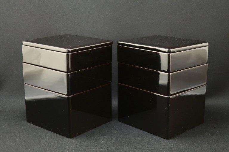 黒塗弁当箱 五個組 / Black-lacquered 'Bento(Lunch)' Boxes  set of 5