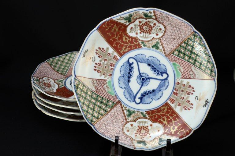 大聖寺伊万里色絵八寸皿 五枚組 / Daishoji Imari Polychrome Plates  set of 5