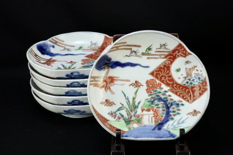 伊万里色絵鶴兎文変形皿 六枚組 / Imari Polychrome Plates  set of 6