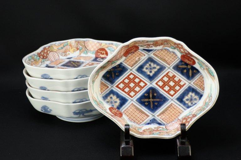 伊万里色絵石畳鳳凰文変形皿 五枚組 / Imari Polychrome Plates  set of 5