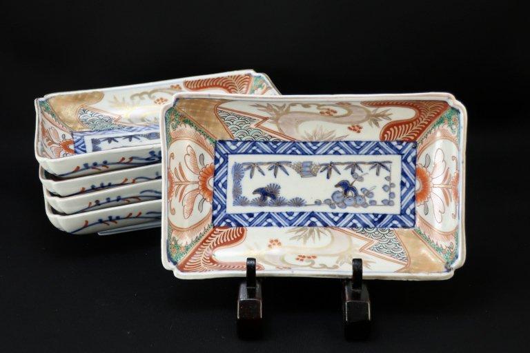 伊万里色絵松竹梅文長皿 五枚組/ Imari Rectangular Polychrome Plates  set of 5