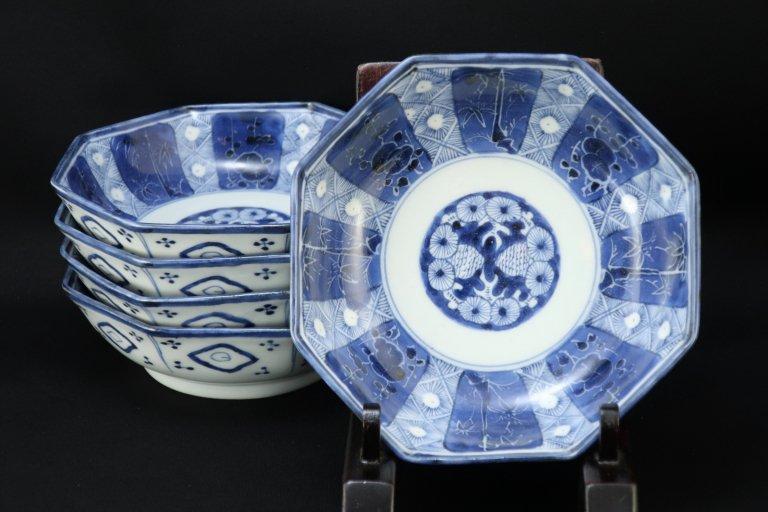 伊万里染付松竹梅文八角なます皿 五枚組 / Imari Octagonal Bleu & White 'Namasu' Bowls  set of 5