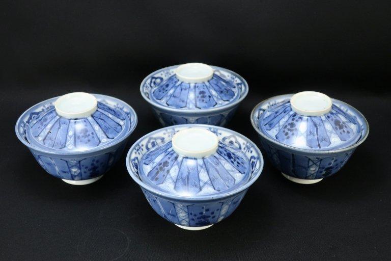 伊万里染付松竹梅文蓋茶碗 四客組 / Imari Blue & White Bowls with Lids  set of 4