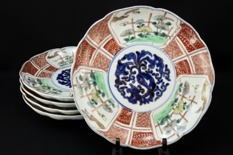 伊万里色絵菊花文七寸皿 五枚組 / Imari Polychrome Plates with the picture of Chrysenthemum Flowers  set of 5
