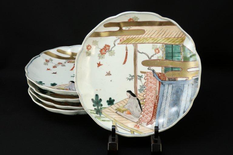 伊万里色絵姫の図七寸皿 五枚組 / Imari Polychrome Plates  set of 5