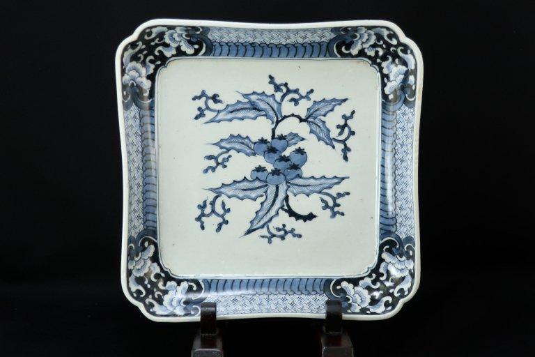 伊万里染付柊(?)文大角皿 / Imari Large Square Blue & White Plate