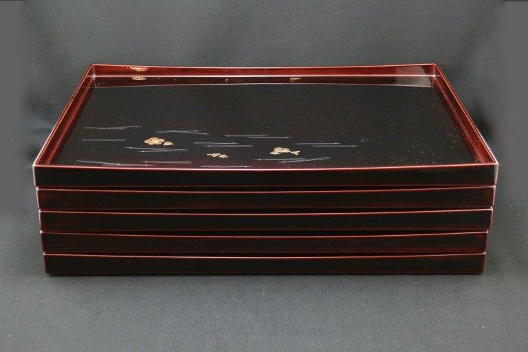 輪島塗図変蒔絵卓上膳 五枚組 / Wajima-lacquered Trays  set of 5