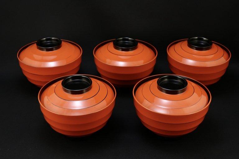 山田平安堂 梅文根来吸物椀 五客組 / Kyoto 'Heiando' Red Lacquered Soup Bowls  with Lids  set of 5