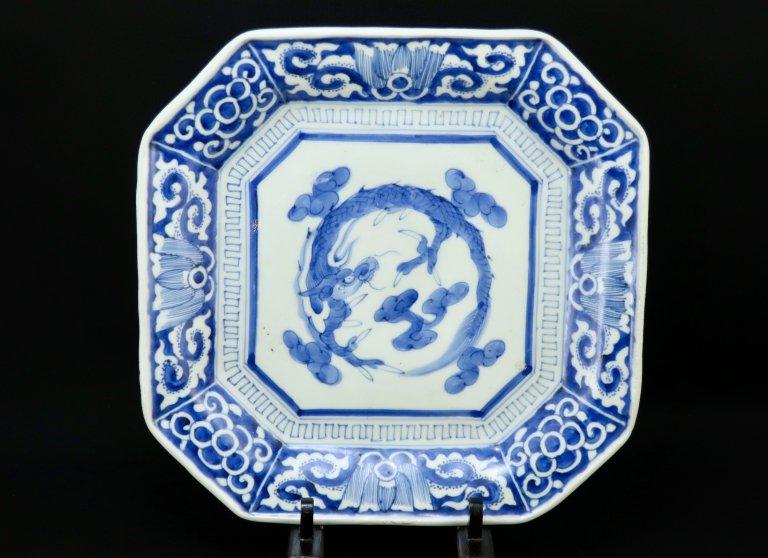 伊万里染付龍文隅切角大皿 / Imari Large Square Blue & White Plate with the picture of Dragon  set of 5