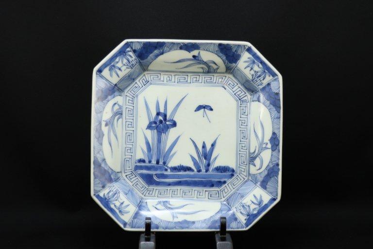 伊万里染付菖蒲文隅切角皿 / Imari Square Blue & White Plate with the picture of Iris Flower