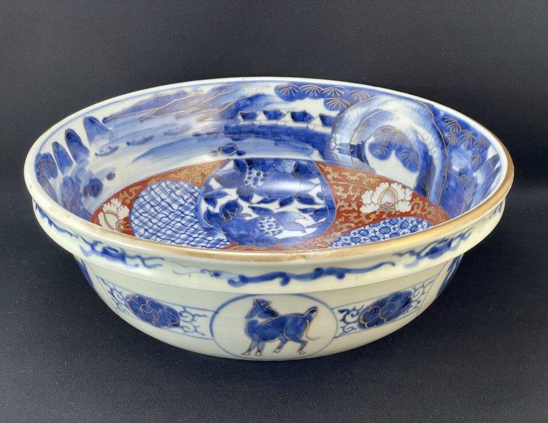 伊万里色絵丸文馬の図大鉢 / Imari Large Polychrome Bowl with the picture of circles and Horses