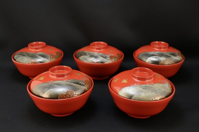 朱塗千鳥蒔絵吸物椀 五客組 / Red-lacquered Soup Bowls with Lids  set of 5