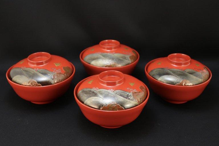 朱塗千鳥蒔絵吸物椀 四客組 / Red-lacquered Soup Bowls with Lids  set of 4