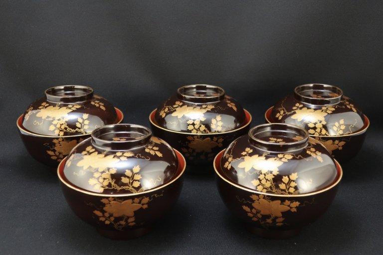 黒塗内朱鉄線蒔絵椀 / Black & Red-lacquered Soup Bowls with Lids  set of 5