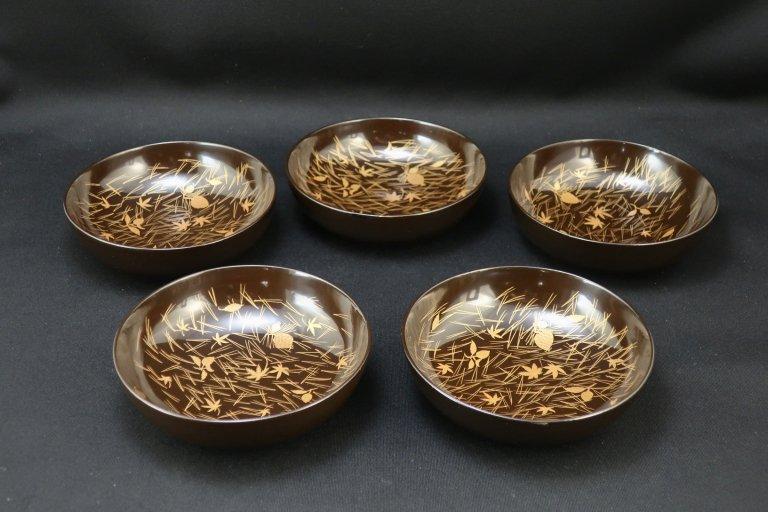 黒塗金蒔絵菓子小皿 五枚組 / Black-lacquered Small Sweet Plates  set of 5