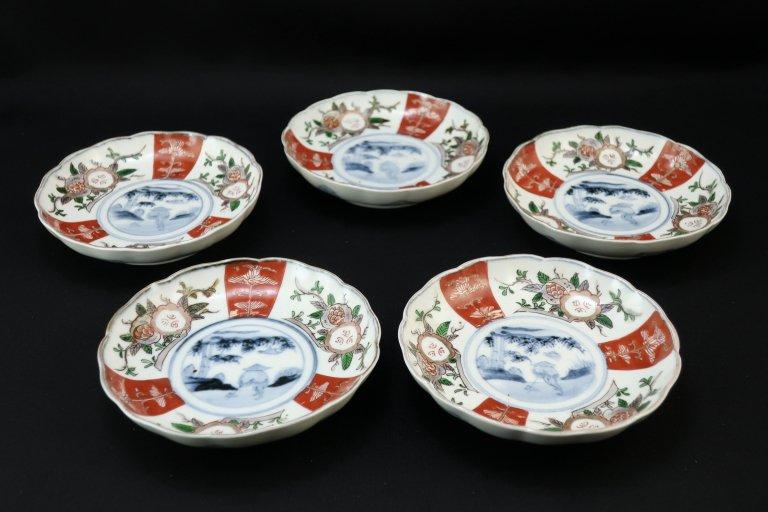 伊万里石榴筍堀の図四寸皿 五枚組 / Imari Small Polychrome Plates  set of 5