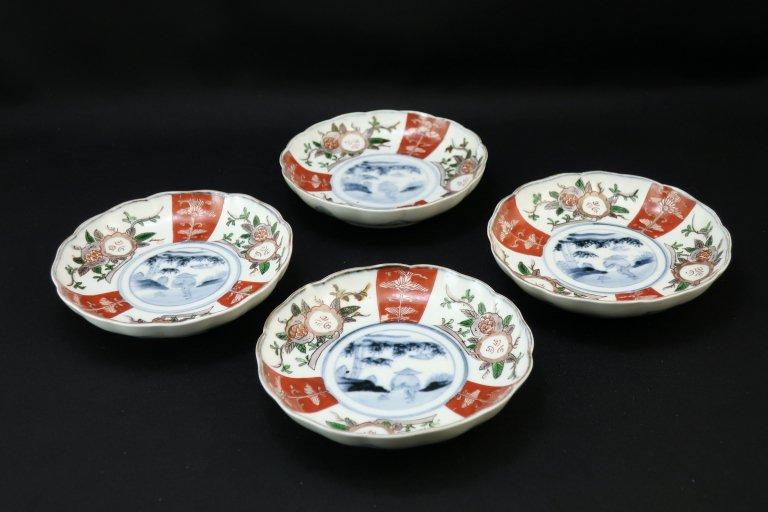 伊万里石榴筍堀の図四寸皿 四枚組 / Imari Small Polychrome Plates  set of 4